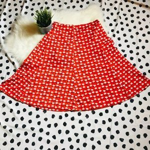 Vintage Midi A Line Hand Made? Skirt Red Floral